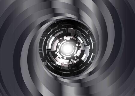 digital eye: Black and white metal color Swirl background with digital eye robot