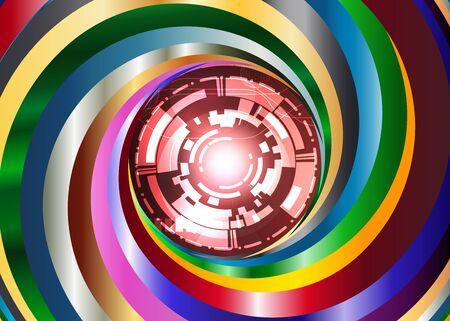 metal color Swirl background with digital red eye robot Illustration