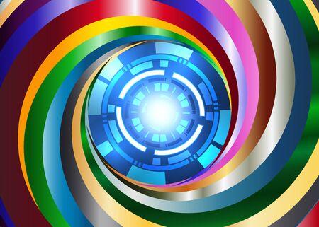 robo: metal color Swirl background with digital blue eye robo Illustration