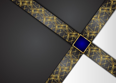 Golden and Dark vintage background. Blank for message or text. Illustration