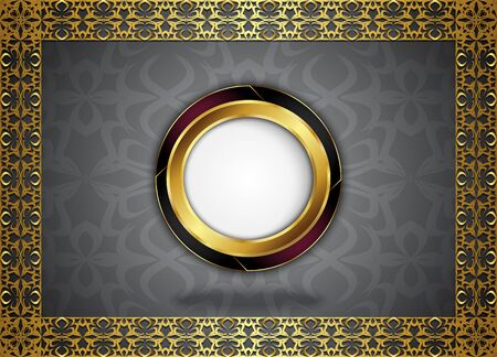 Circle label with seamless pattern. Blank for message or text. Illustration