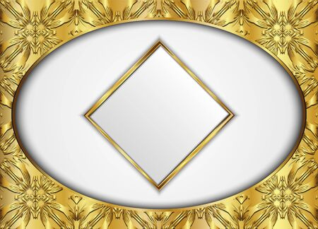 Golden circle and diamond label with vector background.Blank for message or text.