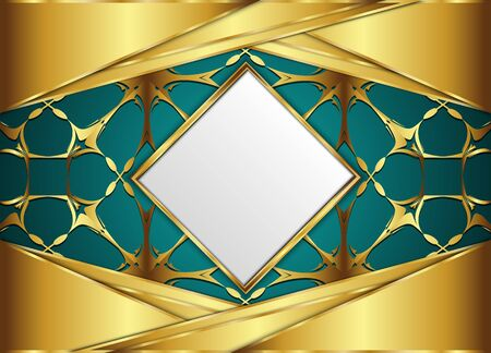 Golden diamond  label with Blank for message or text. Illustration