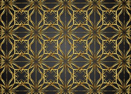 Golden and dark seamless vector background.