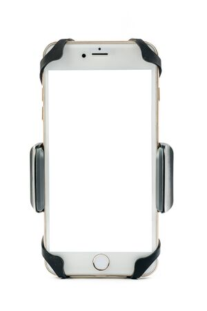 Front view of new universal phone holder for car motorbike and bike with installed blank screen white smartphone. Isolated on white background Imagens