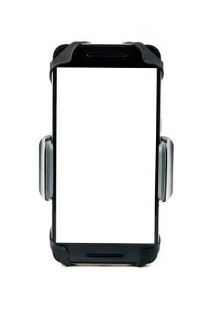 Front view of new universal phone holder for car motorbike and bike with installed blank screen smartphone. Isolated on white background Imagens