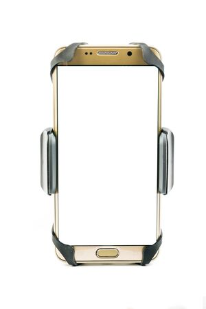 Front view of new universal phone holder for car motorbike and bike with installed blank screen gold smartphone. Isolated on white background