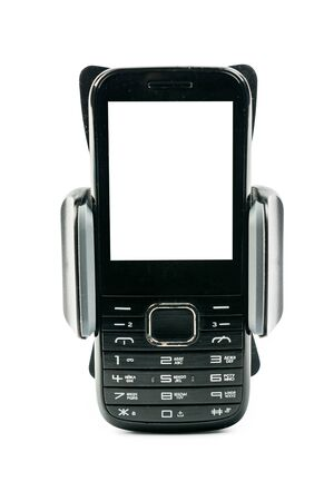Front view of new universal phone holder for car motorbike and bike with installed blank screen simple phone. Isolated on white background Imagens