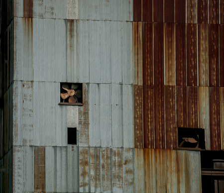 abandoned warehouse: Old rusty, metal buildings.