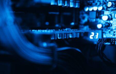 internet terminals: Inside computer blue vibrant bokeh background backdrop