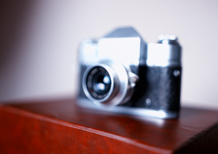rangefinder: Vintage rangefinder camera bokeh background