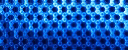 extruded: Horizontal blue 3d extruded cubes abstraction background