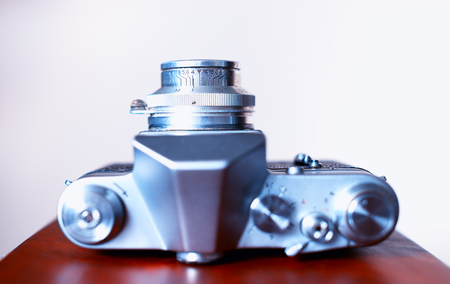 rangefinder: Vintage rangefinder camera view from top bokeh background