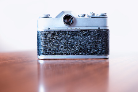 rangefinder: Back view of vintage rangefinder camera background