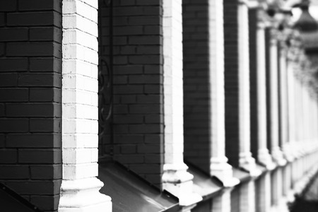 industrial heritage: Black and white Russian temple red brick fence background Stock Photo