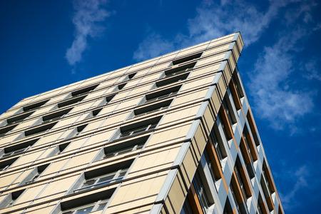 diagonal: Diagonal city living building with blue sky background