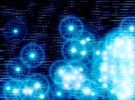 teleportation: Horizontal blue space stars illustration