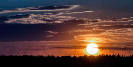 tree disc: Sunset near Moscow Stock Photo