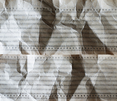 punched: Horizontal crumpled punched cards background