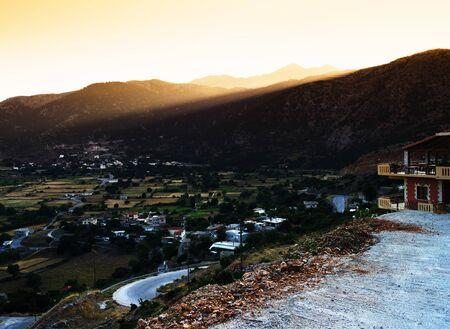 kreta: Horizontal Crete morning landscape background