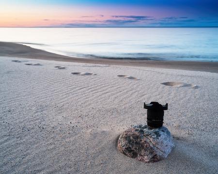 photography backdrop: Horizontal vivid photography lens sunset on the beach background backdrop