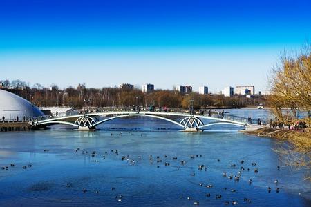 Arc bridge in Moscow public park Tsaritsyno background