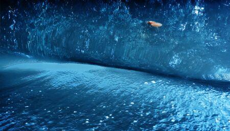 reflection of life: Horizontal vivid fresh blue ocean water wave medusa painting