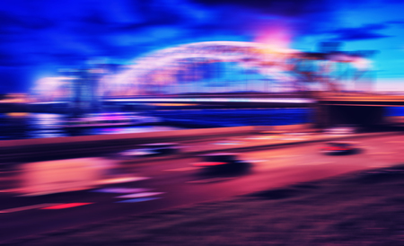 Horizontal vivid cross processed Night Saint Petersburg abstraction background backdrop Stock Photo