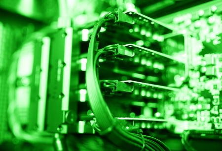 horizontal  green: Horizontal green gpu quad sli video card bokeh background