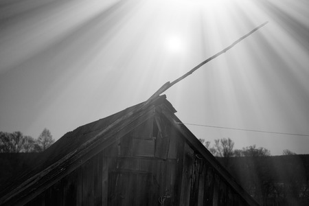 tv antenna: Vintage russian cabin with tv antenna light leaks backdrop