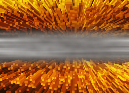 abyss: Horizontal vivid orange 3d extrude cubes abyss with white smoke abstraction background Stock Photo