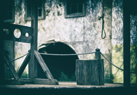 gallows: Horizontal empty blank medieval scaffold gallows design element background backdrop Stock Photo