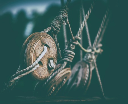 Horizontal vintage medieval ship saile rope cable background backdrop