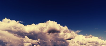 of pano: Horizontal vivid wide dark pano bottom aligned cloudscape compostion background backdrop Stock Photo