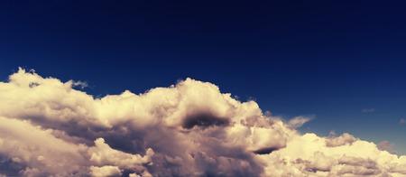 compostion: Horizontal vivid wide dark pano bottom aligned cloudscape compostion background backdrop Stock Photo