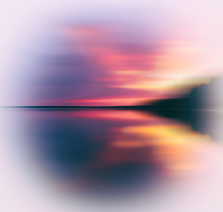 Evening sunset on smooth lake abstraction Stock Photo