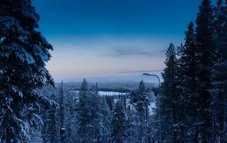 finnish: Morning sunrise at Finnish forest