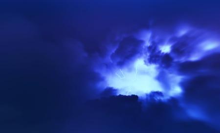 blue lightning: Horizontal vivid vibrant blue lightning storm cloudscape background backdrop