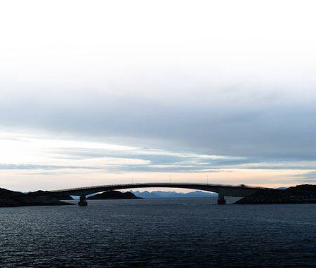 brige: Square soft Norway brige sunset horizon ocean landscape ackground backdrop Stock Photo