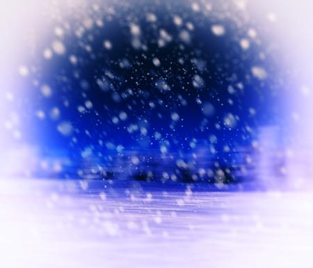 Horizontal vivid vibrant white blue purple winter snowfall postcard background backdrop