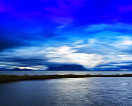Horizontal vivid Norway fjord motion blur abstraction background backdrop