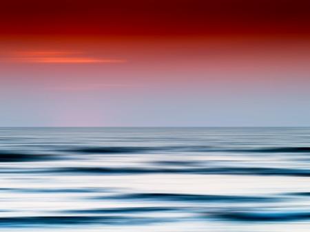 Horizontal burning ocean sunset blank abstraction background