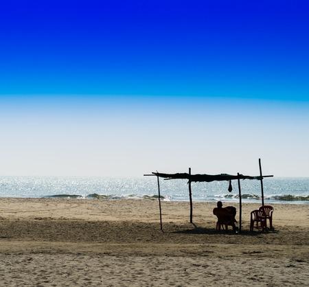 and the horizontal man: Horizontal vivid man meeting bright morning at sandy beach landscape background backdrop