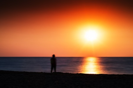 and the horizontal man: Horizontal vivid meeting ocean sunset lonely man abstraction landscape background backdrop