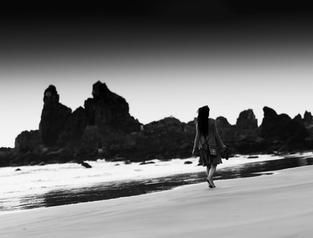 dreadlock: Horizontal black and white indian dreadlock girl bokeh background