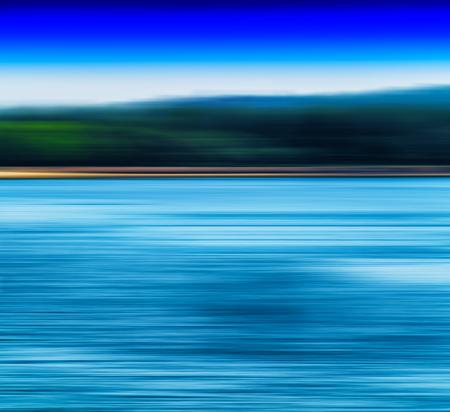 ocea: Horizontal vivid blur ocean horizon land landscape background backdrop