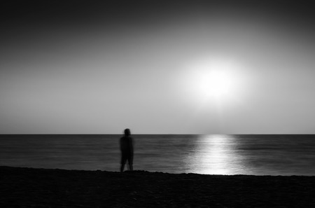 and the horizontal man: Horizontal vivid black and white lonely man abstraction landscape background backdrop
