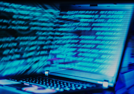 internet terminal: Horizontal interlaced futuristic laptop data abstraction background Stock Photo