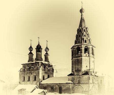 russian orthodox: Horizontal vintage Russian orthodox church postcard background backdrop