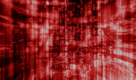 interlaced: Inside computer red interlaced digital abstraction background Stock Photo
